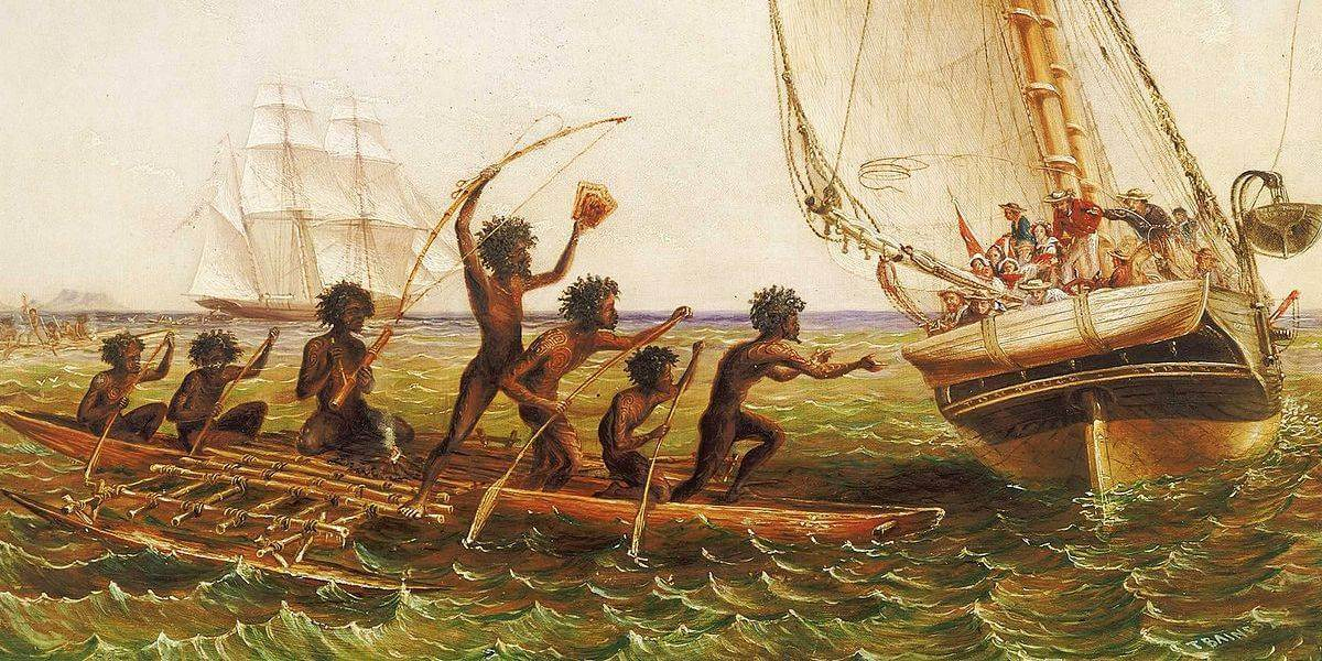 Thomas Baines, Aboriginal Canoes Communicating with the 'Monarch' and the 'Tom Tough', 1868