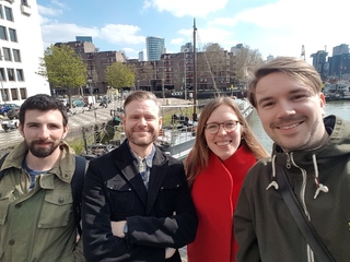 Amy Orben (second from right) with fellow lab members Dr Leonid Tiokhin, Dr Daniël Lakens and Peder Isager during a trip to Rotterdam (not pictured Anne Scheel and Tim van der Zee)
